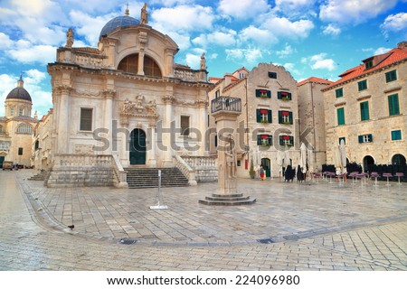 The Orlando's Column and St Blaise Church, the protector of Dubrovnik, Croatia - stock photo