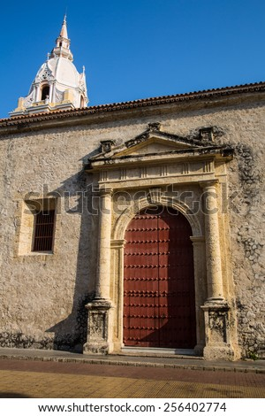 The ornate doors of the Spanish Colonial Cartagena Cathedral. - stock photo