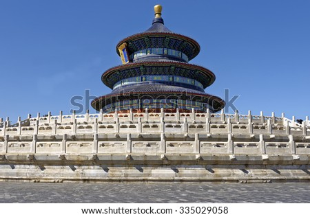 The ornate Hall of Prayer for Good Harvests in the Temple of Heaven complex in Beijing, China - stock photo