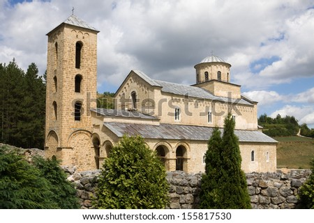 The orthodox Sopocani monastery in Serbia, UNESCO world heritage site. The church was dedicated to the Holy Trinity and completed around 1265. - stock photo