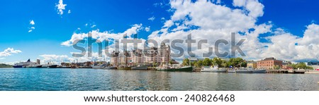 The Oslo Norway Harbor is one of Oslo's great attractions. Situated on the Oslo Fjord in Oslo, - stock photo