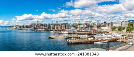 The Oslo Norway Harbor is one of Oslo's great attractions. Situated on the Oslo Fjord in Oslo, Norway - stock photo