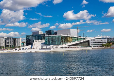 The Oslo Opera House is the home of The Norwegian National Opera and Ballet, and the national opera theatre in Norway - stock photo