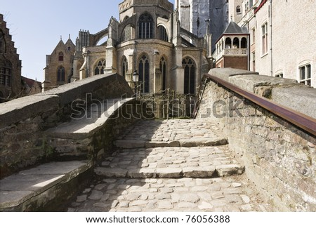 The other side of the bridge: castle - stock photo