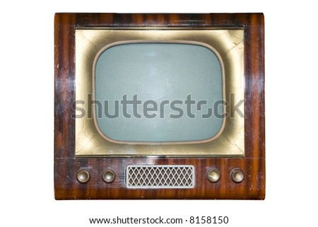 The out-of-date TV on a white background - stock photo