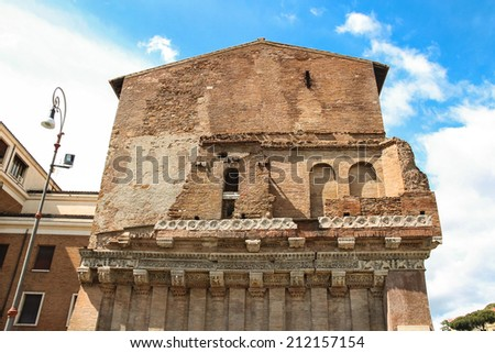 The outer wall of an ancient building in Rome, Italy - stock photo