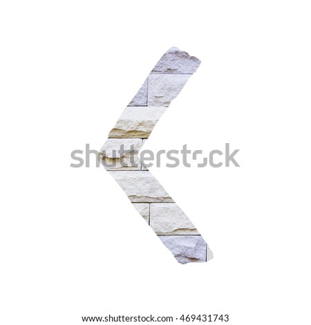The outline of English capital letter 'C' isolated on white background and filled in with actual photo of pastel sandstone brick wall with applicable clipping or working path