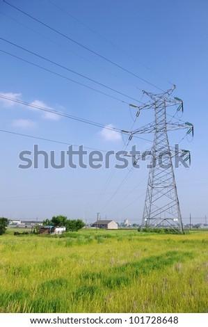 The outskirts power tower - stock photo
