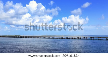 The Overseas Highway, stretching 127 miles from Florida's mainland to Key West, is a modern wonder. - stock photo