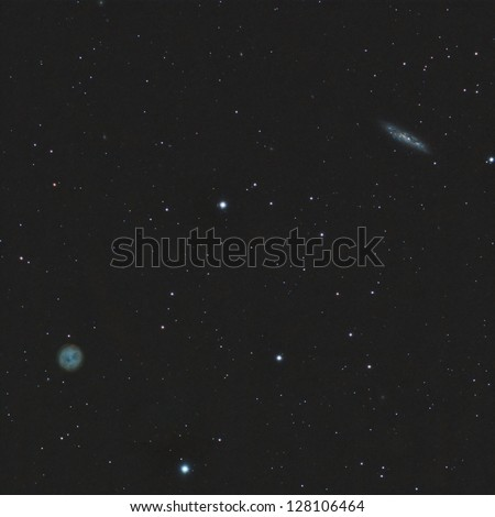 The Owl, a planetary nebula in Ursa Major and Galaxy M108 - stock photo