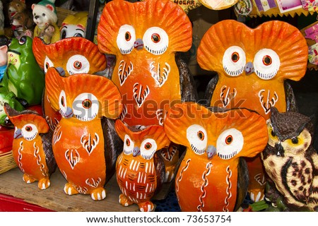 The Owl Family. A very colorful handy craft from Guatemala.