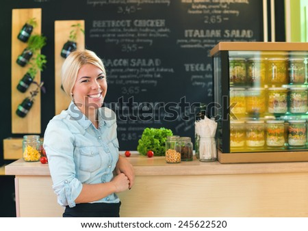 The owner of small restaurant - stock photo