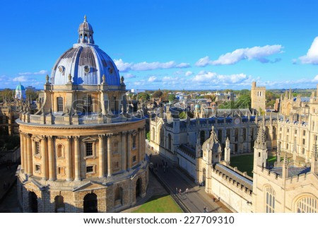 The Oxford University City, Photoed in the top of tower in St Marys Church. All Souls College, United Kingdom, England - stock photo