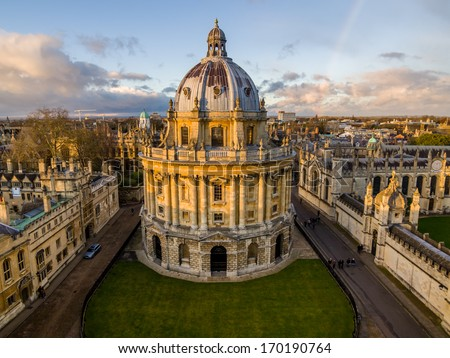 The Oxford University library. Photoed in the top of tower in St Marys Church.There was a rainbow behind of it, and the sunshine is so amazing. - stock photo