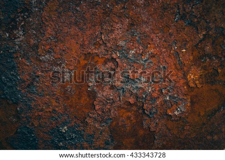 The oxidation of the metal surface by making abstract high-resolution textures.