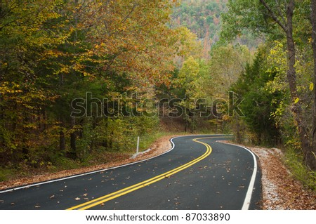The Ozark Mountain side in fall. - stock photo