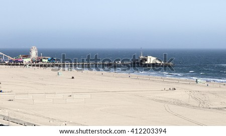 The Pacific ocean and a clear day, Santa Monica. Beach landscape in the USA with blue sea.  - stock photo