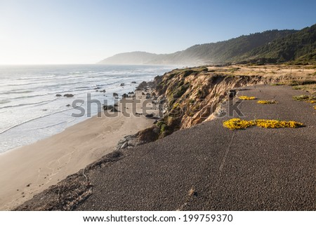 The Pacific Ocean continually erodes Northern California's coastline into dramatic scenery. Highway 1 is built along the coast, allowing drivers to view some of North America's most impressive vistas. - stock photo