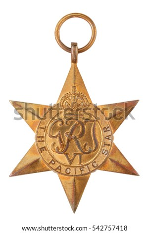 The Pacific Star Second World War Medal without ribbon isolated on white with clipping path