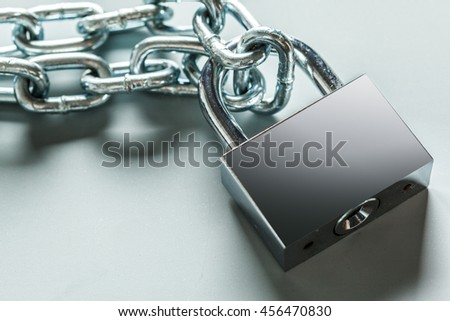 The padlock and chains isolated