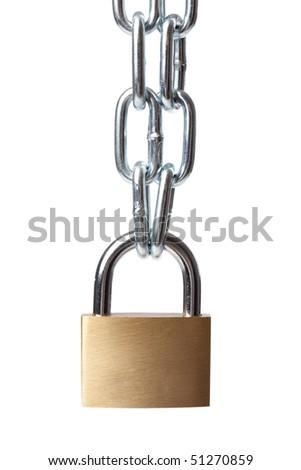 the padlock on white background - stock photo