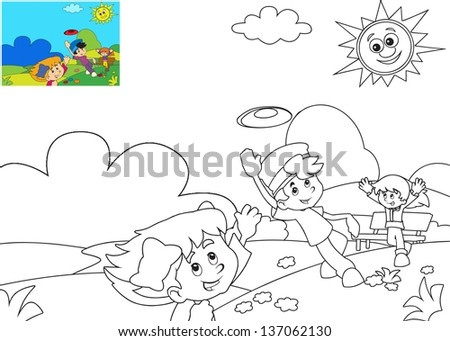 The page with exercises for kids coloring book illustration for the children