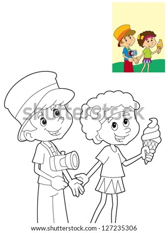 The page with exercises for kids coloring book make up illustration for the