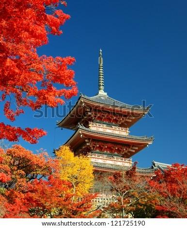 The pagoda of Kiyomizu-dera in Kyoto, Japan. - stock photo