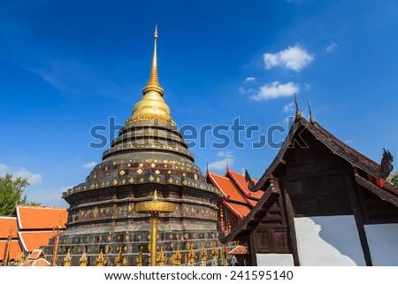 The Pagoda of Wat Prathat Lampang Luang - stock photo