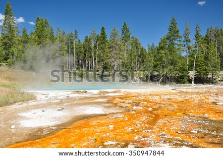 The Paint Holes: One of Yellowstone's colorful hot springs. - stock photo