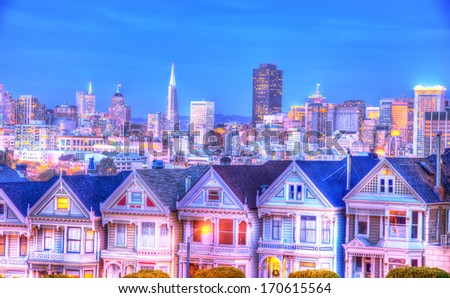 The Painted Ladies and San Francisco skyline at evening - stock photo