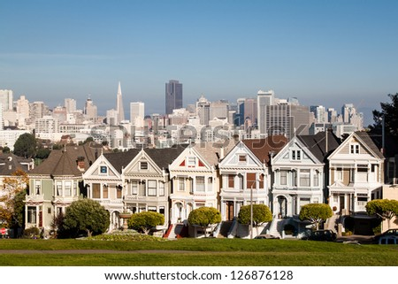 The painted ladies in San Francisco - stock photo