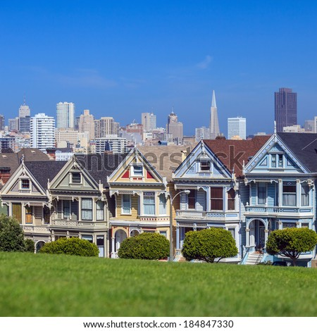 The Painted Ladies of San Francisco Alamo Square Victorian houses at California USA