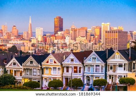 The Painted Ladies of San Francisco, California. USA. - stock photo