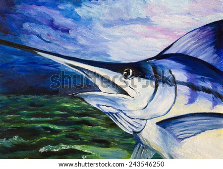 The paintings. Blue Marlin out of the water - stock photo
