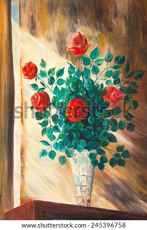 The paintings. Bouquet of roses in a vase - stock photo