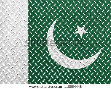 The Pakistani flag painted on  metal floor - stock photo