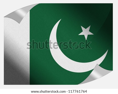 The Pakistani flag painted on  page sheet with folded corners - stock photo