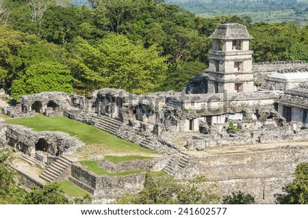 The palace,ancient Mayan city of Palenque (Mexico)