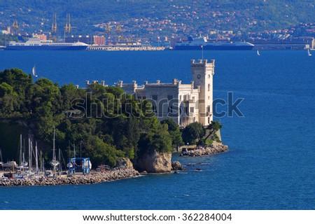 the palace Miramare, coast of Trieste - stock photo