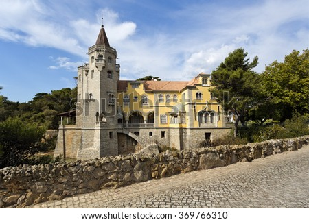 The Palace of Conde de Castro Guimaraes, also known as the Tower of Saint Sebastien, in Cascais, Portugal - stock photo