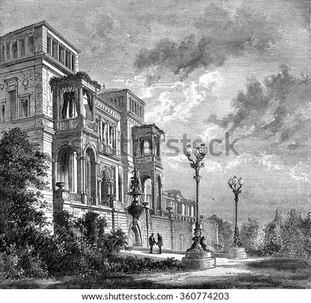 The palace of the Prince Royal, in Stuttgart, vintage engraved illustration. Magasin Pittoresque 1869.