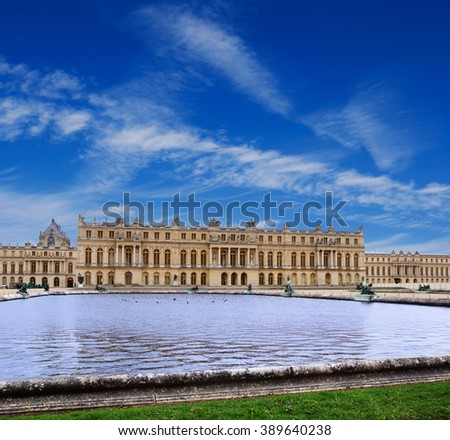 The Palace of Versailles, view from the garden, France - stock photo