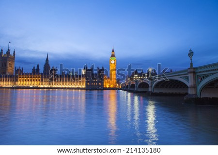 The Palace of Westminster Big Ben at night, London, England, UK - stock photo