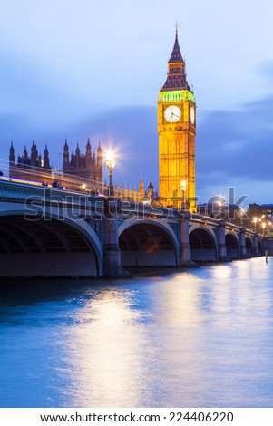 The Palace of Westminster Big Ben at night, London, England, UK  - stock photo
