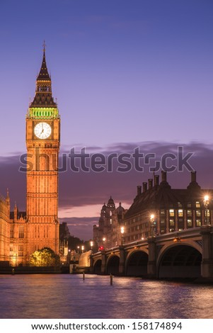 The Palace of Westminster Big Ben at twilight - stock photo