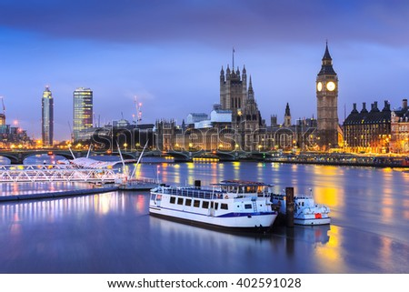 The Palace of Westminster Big Ben at twilight in London, Uk. - stock photo