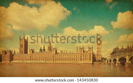 The Palace of Westminster, Elizabeth Tower and Westminster Bridge. Toned image.  aged paper texture. - stock photo