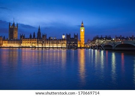 The Palace of Westminster, House of Parliament, Big Ben at twilight night, England, London, UK  - stock photo