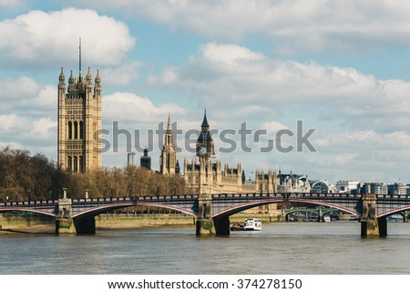 The Palace of Westminster in London, UK - stock photo